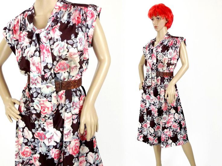 Summer Dress / 70s Vintage / Fits Most / Short Sleeves  / Pussy Bow / Brown and Pink Floral / Women's Clothing / Secretary Dress / Boho by VintageSquirrels on Etsy