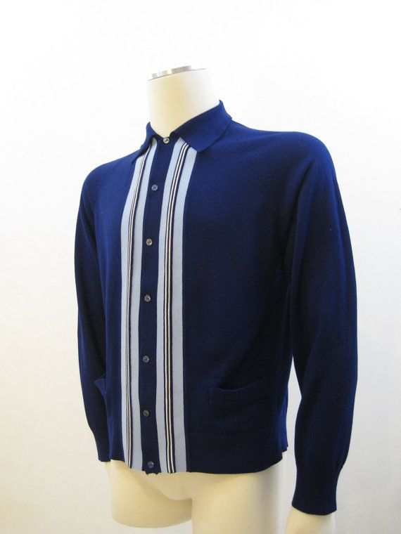 60s Mens MOD Panel Button-up Sweater by voguevintage on etsy