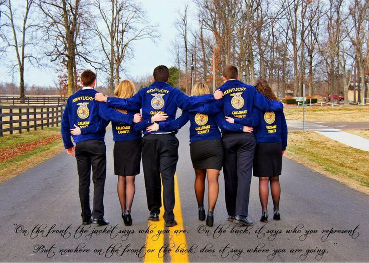 """I know this is for FFA, but I think it could work for the  Seniors in Student Council as a Group Photo Idea & Quote: """"On the front, the jacket says who you are. On the back, it says who you represent. But nowhere on the front or the back does it say where you are going."""""""