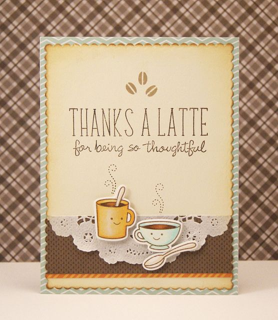 Thanks a Latte card. Stamps: Lawn Fawn: Love you a Latte, Violet's ABCs, Many Thanks and Lawn Fawn dies. Click on link for details.