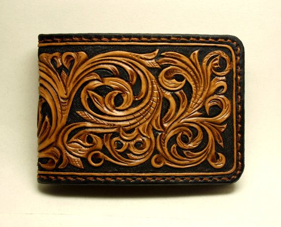 Hand tooled men s leather wallet in sheridan style carved
