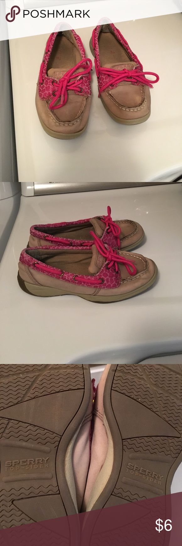 CLEAN OUT! Girls Sperry's Top Sider size 1 These have been well loved but still have a lot of life left for play, colors still look perfect. Pink zebra print. Smoke free and pet free home. Need everything gone before baby arrives:-) bundle and save!! Thanks! Sperry Top-Sider Shoes Sneakers