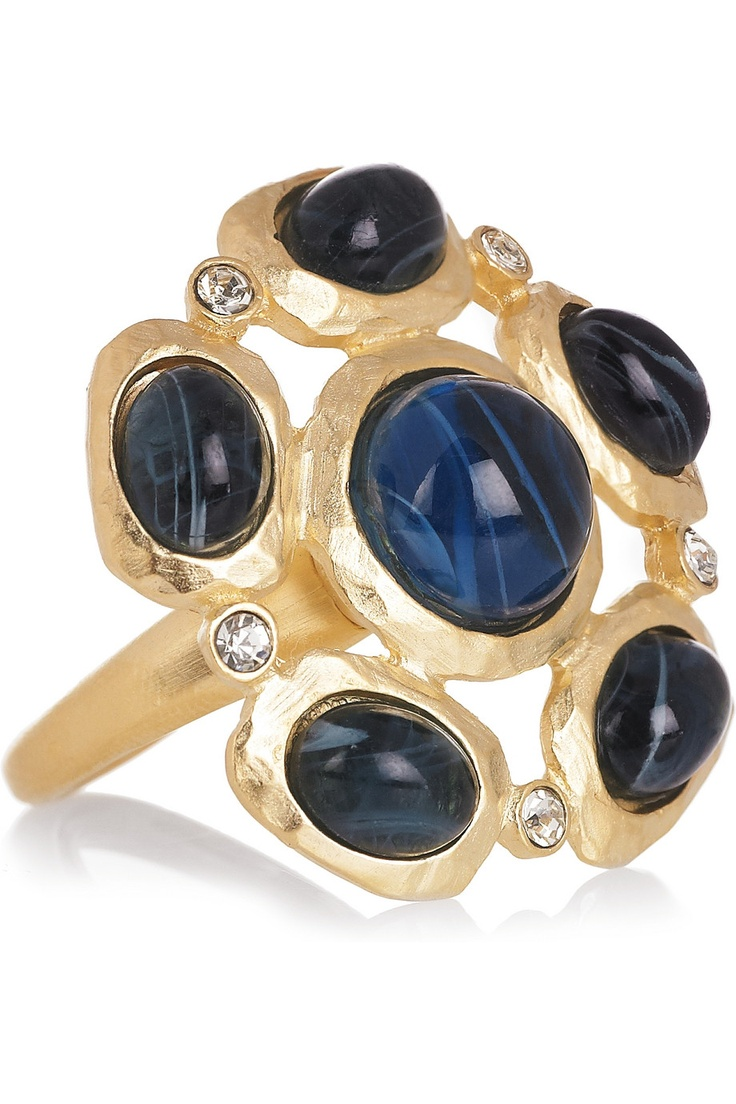 22-karat gold-plated crystal ring by Kenneth Jay Lane