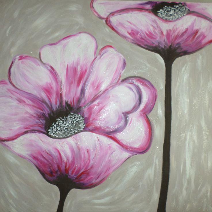 """tableau """"coquelicots violet"""" en acrylique sur chassis en pin : Décorations murales par crea-sib"""