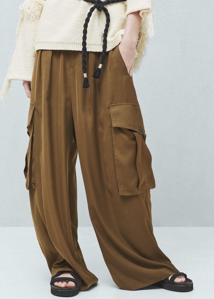 Cargo palazzo trousers -  Women   MANGO