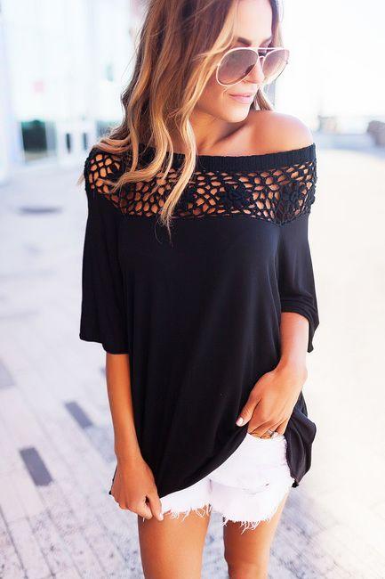 Black Crochet Neckline Top