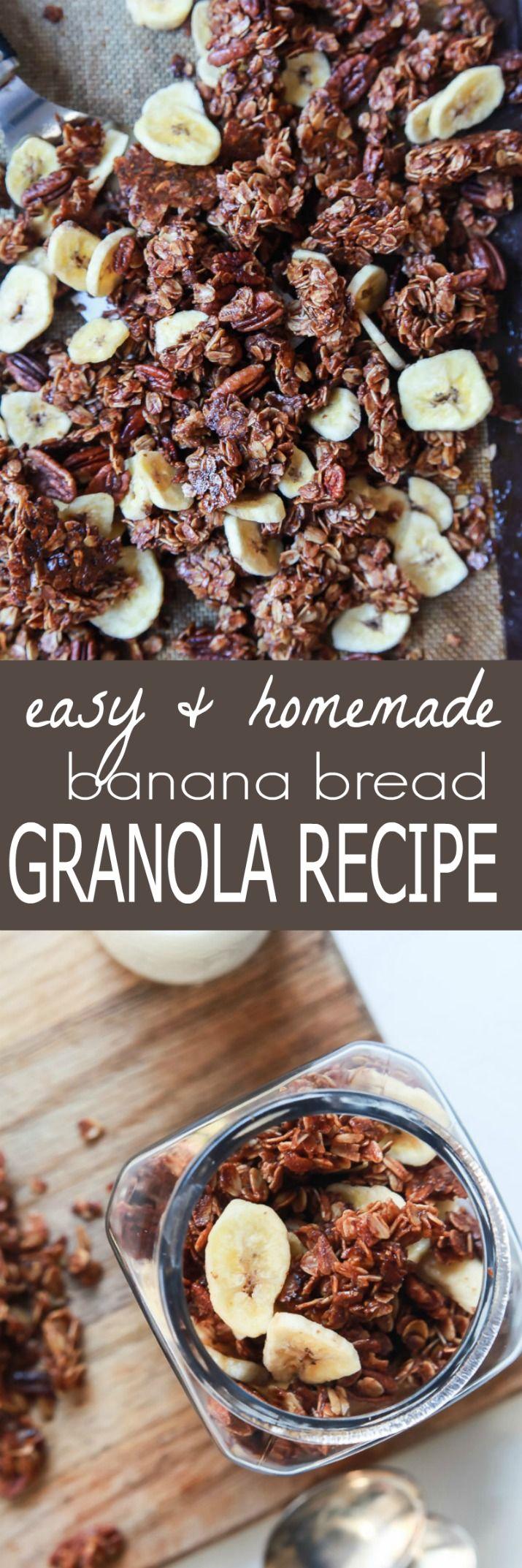 An easy Homemade Banana Bread Granola Recipe that takes 30 minutes to make and full of banana bread flavor! | joyfulhealthyeats.com