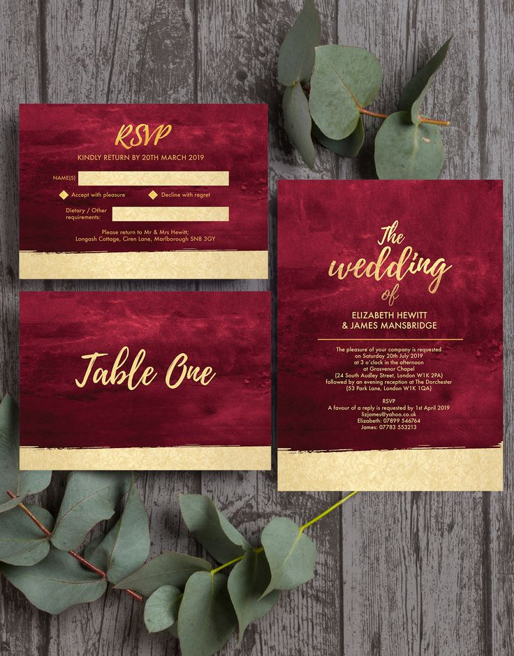 destination wedding invitation rsvp date%0A Burgundy and champagne gold wedding stationery by Hip Hip Hooray  With a  modern  simple and elegant feel  this design collection will wow all your  friends