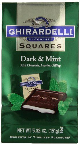 Ghirardelli Chocolate Squares, Dark and Mint Filled. hese are an absolutely FABULOUS after dinner mint, not the usual mint either. The filling is very strong and refreshing, and can also spice up the after dinner coffee drinks you may be serving. The center can be gooey but I've found that if I place them in the freezer, take them out about 30 minutes before serving, that this completely solves the problem.