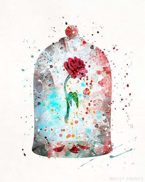 Verzauberte Rose, die Schöne und das Biest Disney Aquarell Wandkunst Poster – Preise …