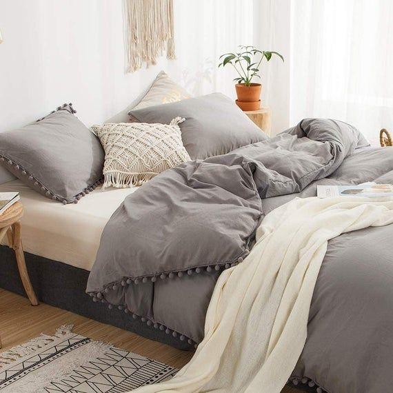 Grey Pom Pom Duvet Cover 3pc Set Boho Duvet Cover Full King Etsy Gray Duvet Cover Gray Bed Set Bedroom Duvet