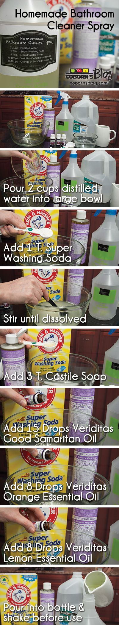Homemade cleaning products for bathroom - How To Make Diy Homemade Bathroom Cleaner Spray With Essential Oils Www Cobornsblog