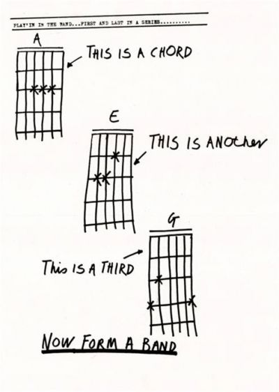 This is a chord. This is another. This is a third. NOW FORM A BAND. Haha!