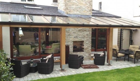 Covered Terrace and outdoor fire on new house extension by FFA | Fergus Flanagan Architects
