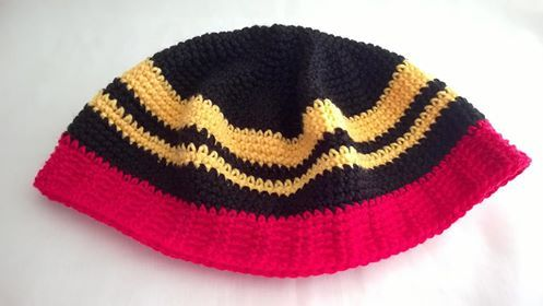 Rastafarian type - 8 ply pure wool - Adult male in Aboriginal Flag Colours.  The red is redder than it appears here $30 the market or plus postage.