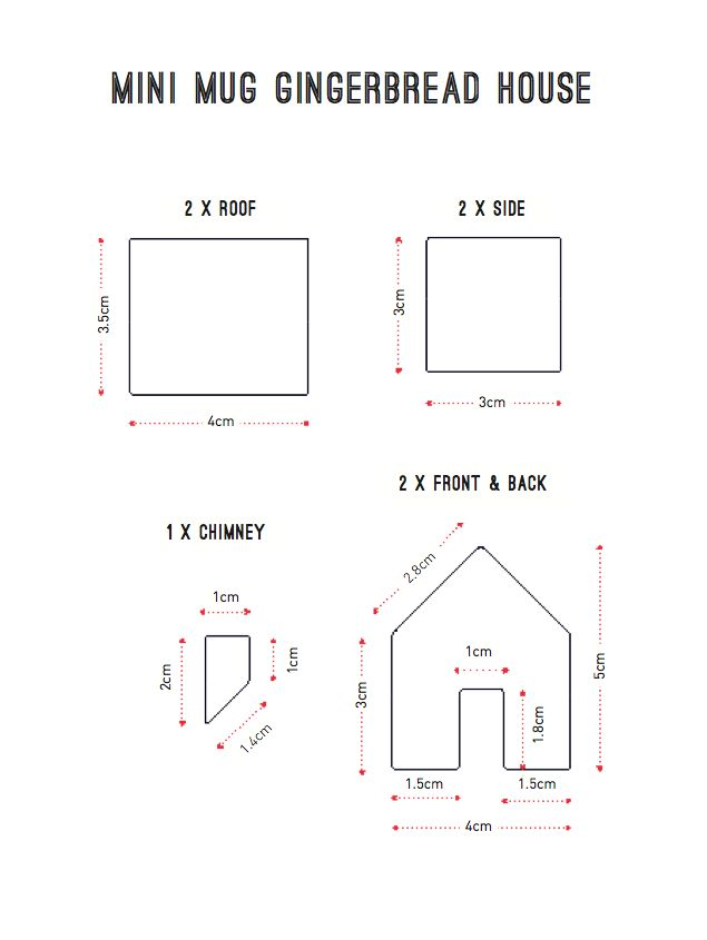 Pattern for tiny gingerbread house...to perch on mugs