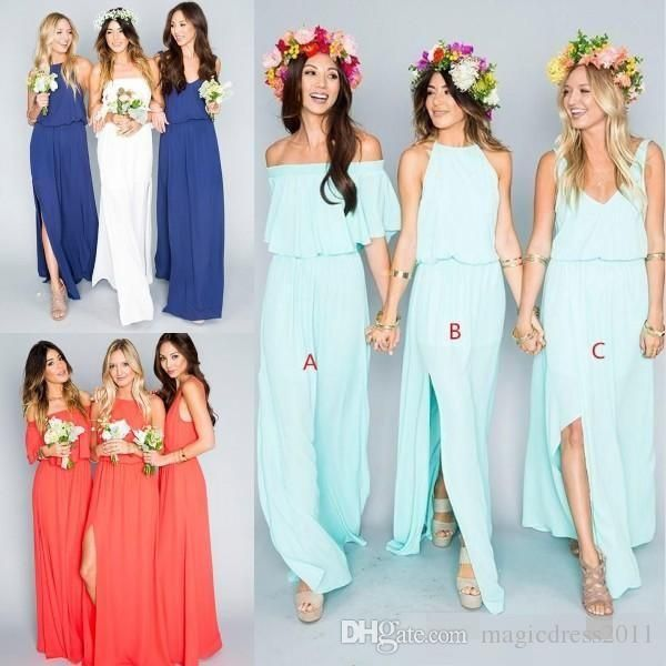 2018 Country Mixed Style Mumu Bridesmaid Dresses For Junior Ocean Blue Custom Made Maid Of Honor Wedding Party Guest Gowns