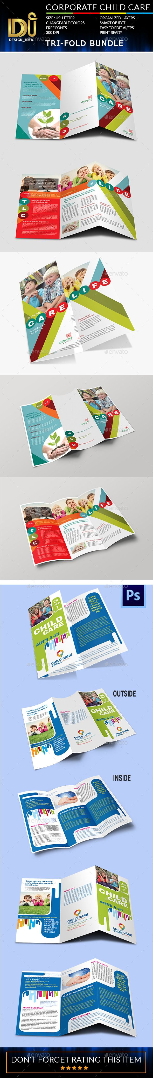 Child care tri fold brochure bundle template design for Child care brochure template free