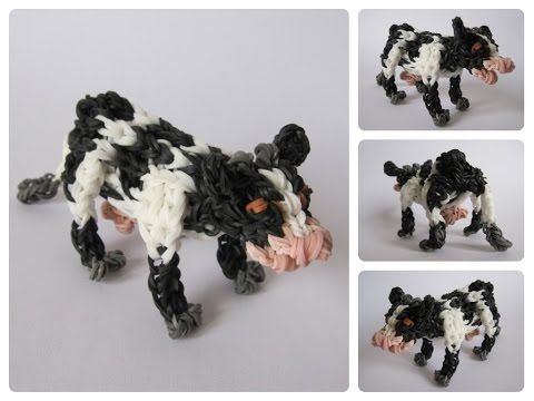 Rainbow Loom 3D COW figure - Part 1/2. Designed and loomed by Nancy at Loombicious. Click photo for YouTube tutorial. 10/14/14.