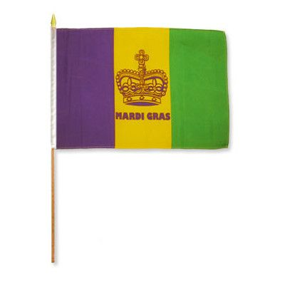 FlagsImporter Mardi Gras (Crown) Traditional Flag and Flagpole Set