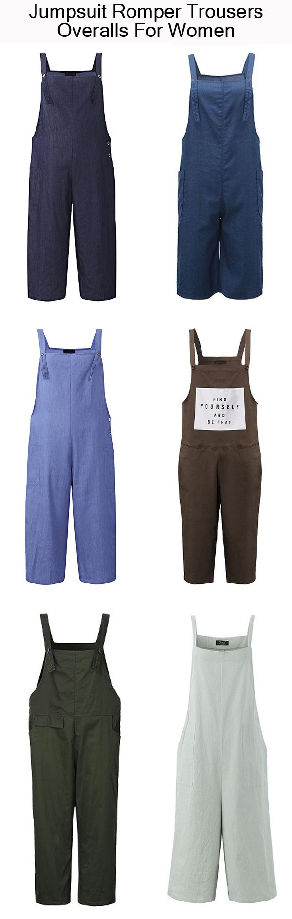 Casual Strap Pockets Jumpsuit Romper Trousers Overalls For Women summer&casual