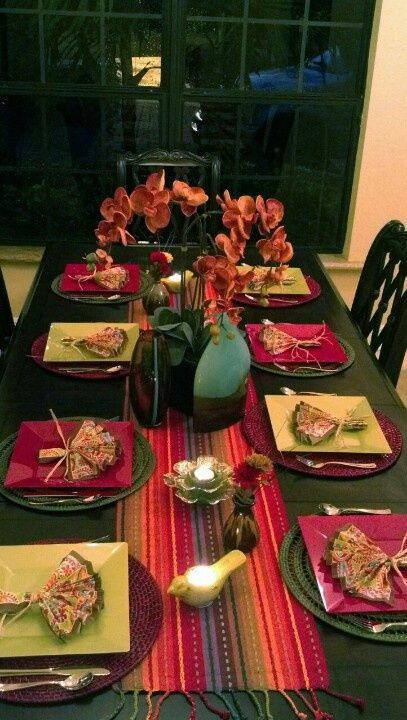 table setting with fiestaware | Table setting for a fiesta