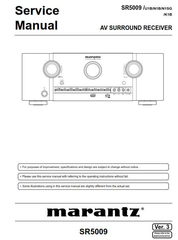 Marantz Sr5009 A V Receiver Service Manual And Repair Guide Repair Guide Marantz Repair