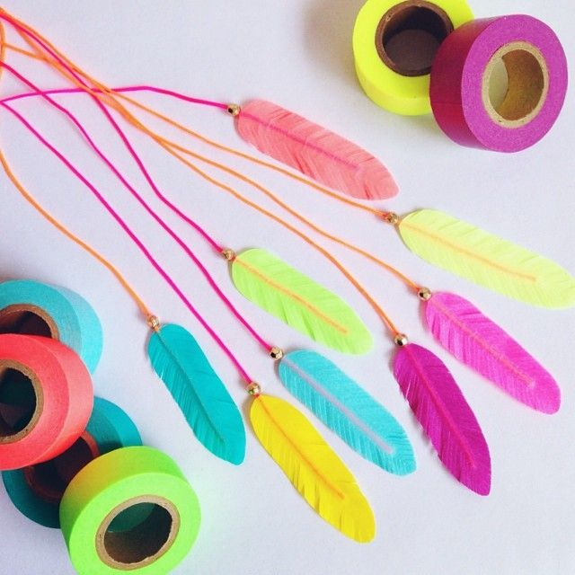 Washi tape feathers //