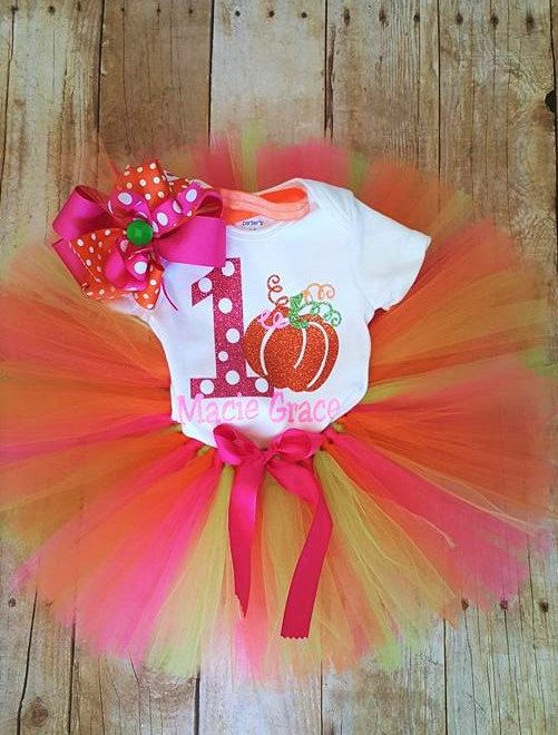 1st Birthday outfit/girls 1st birthday tutu outfit/pumpkin