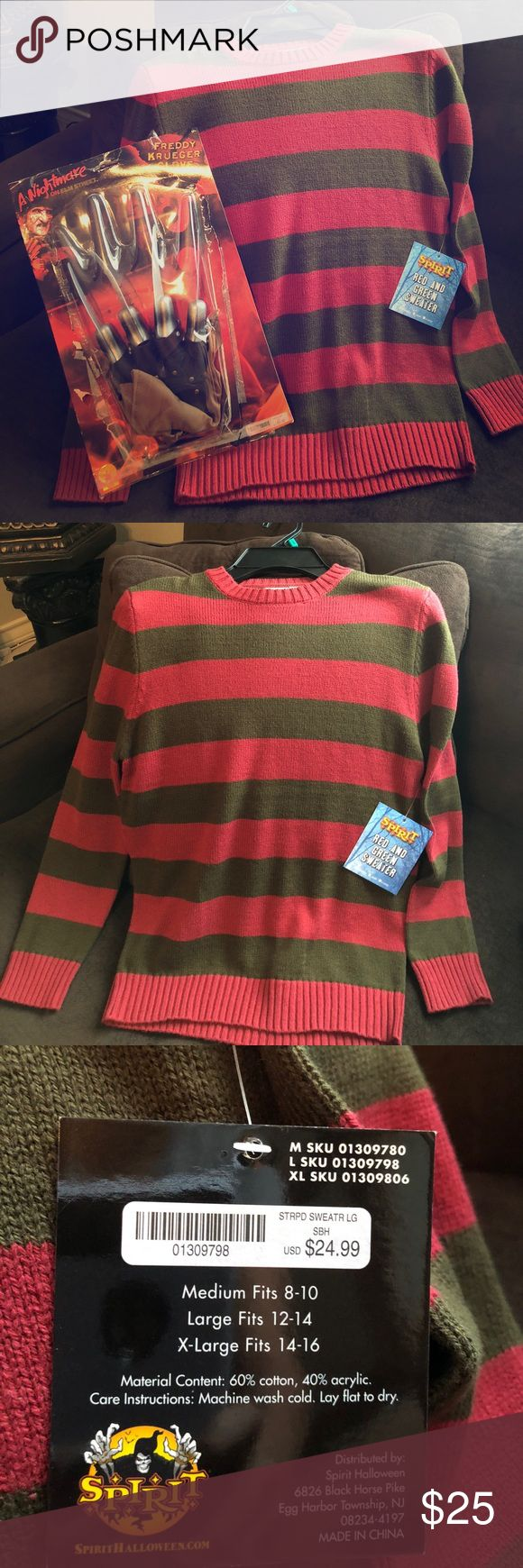 Freddy Krueger Costume Children Freddy Krueger's costume sweater and glove size child L (12/14) new with tags glove is also new never worn. my son want it but then changed his mind. We only opened the glove but it's new I got both items Separately at Halloween Spirit store. Only one glove! That's the way it comes with one. spirit Costumes Halloween