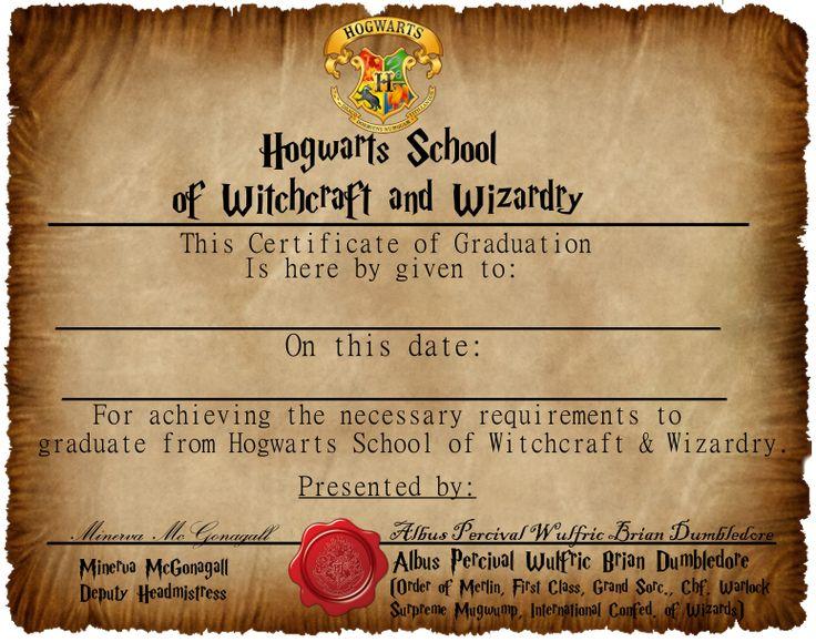 Hogwarts Graduation Certificate Captainjackharkness