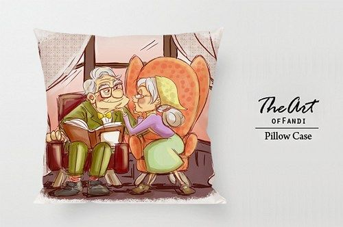 "Carl and Ellie - Custom Square 18""x18"" One Side Pillow Case."
