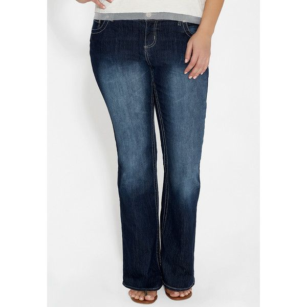 maurices Plus Size - Ellie Dark Wash Bootcut Jeans ($39) ❤ liked on Polyvore featuring jeans, dark sandblast, plus size, maurices jeans, dark wash jeans, slim bootcut jeans, slim boot cut jeans and plus size jeans