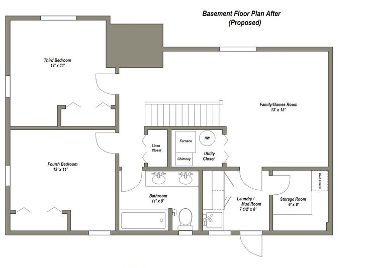 25 best ideas about basement remodeling on pinterest Two bedroom house plans with basement