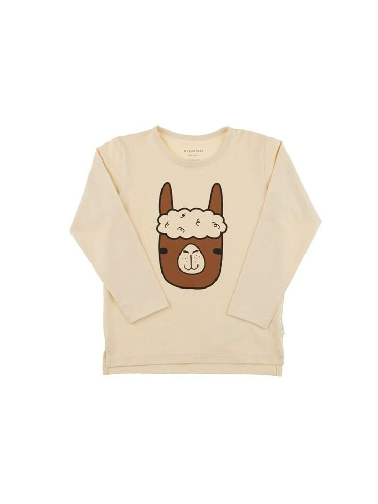 TINY COTTONS LLAMA FACE GRAPHIC TEE / BEIGE from Milk   Bots
