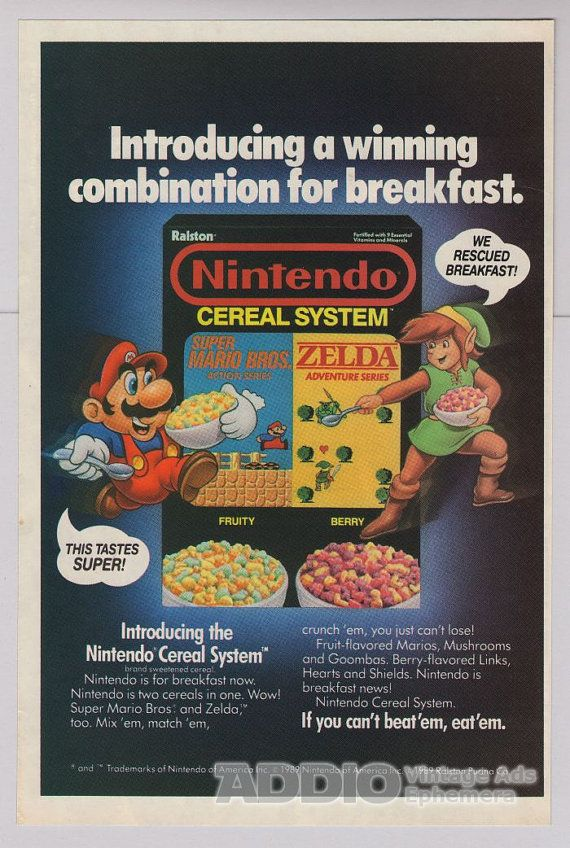 Nintendo Cereal System 80s Original PRINT AD Super Mario Bros Zelda Video Game Advertisement