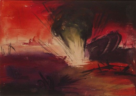 Grenade attack on Panzer Tanks, Battle of Amiens, The Somme 1918 by Fritz Fuhrken.