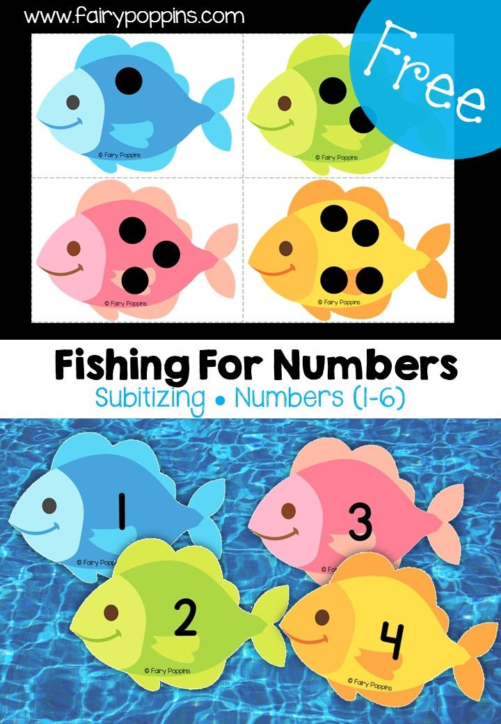 Free subitizing fishing game for numbers (1 to 6) ~ Fairy Poppins