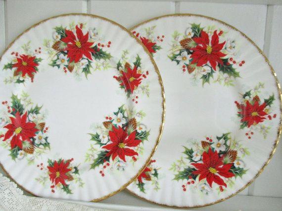 Vintage Royal Albert Yuletide 10 dinner by EnglishGardenTeaShop
