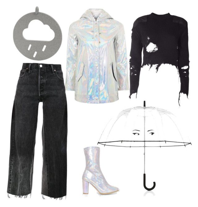 """Holographic rain"" by ralugoii on Polyvore featuring Topshop, RE/DONE, adidas Originals and Kate Spade"