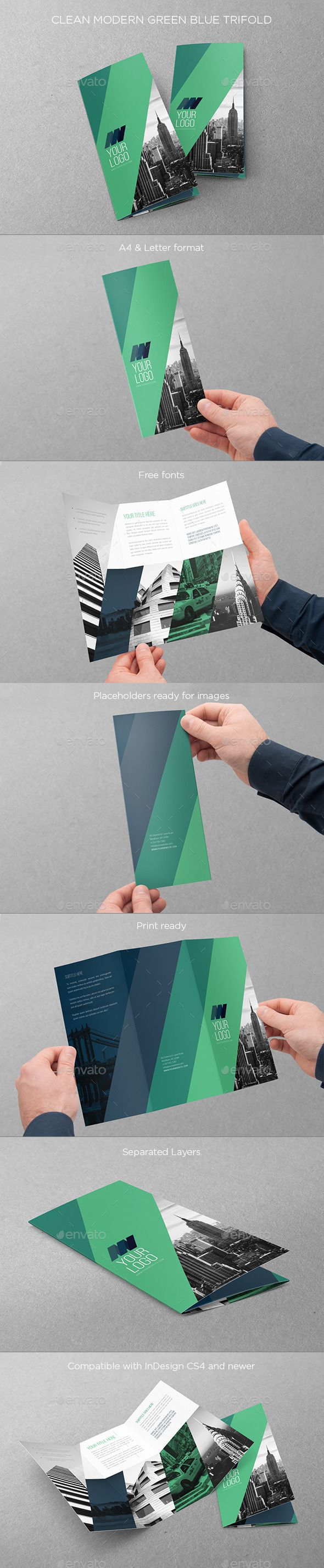 Clean Modern Green Blue Trifold — InDesign INDD #cool #green • Available here → https://graphicriver.net/item/clean-modern-green-blue-trifold/11225278?ref=pxcr