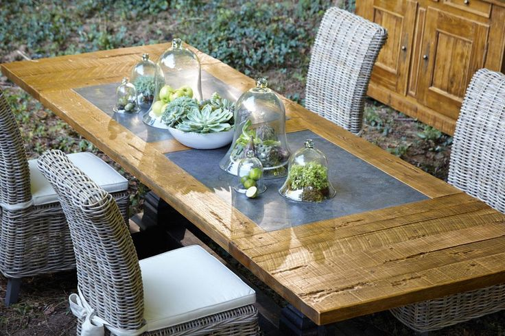 The Bluestone Inlays Are Not Only Beautiful They Re Extremely Durable And Perfect For A Tabletop Arhaus Rustic Dining Table Dining Dining Table