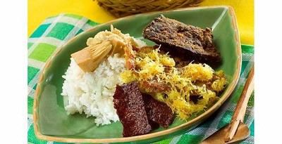 Nasi buk, a special mixed rice from Madura, East Java