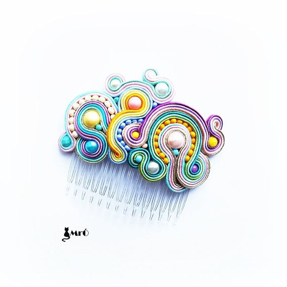 Colors sweet as candy original hair comb soutache by MrOsOutache, $64.00