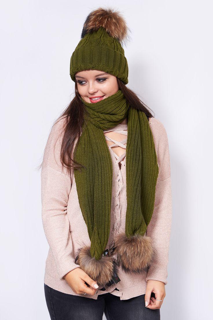 Willow Khaki Fur Pom Pom Hat & Scarf