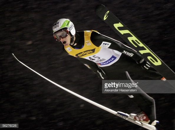 Jakub Janda of the Czech Republic competes on his way to victory in the first FIS World Cup on November 26 2005 in Kuusamo Finland