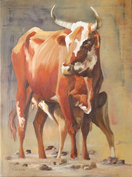 """Nguni Cow and Calf I; Acrylic and Oil on Canvas; 450 x 600mm (18 x 24""""); ZAR 2970 ($260). To buy, contact me on my Facebook page: ErnaWadeArt, or at ewade@absamail.co.za"""