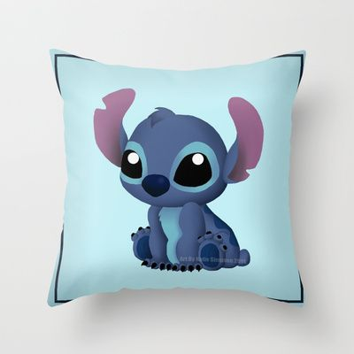 Chibi Stitch Throw Pillow by Katie Simpson - $20.00 Ever since I drew Chibi Toothless I have been wanting to draw one of Stitch. I can't get over how much those two look a like. (Disney Lilo and Stitch, Alien, 626, experiment 626, vector, fan art, Katie Simpson, Redhead-K, Chibi's, cute, funny, love, Ohana, Ohana means family. Family means nobody gets left behind or forgotten.)