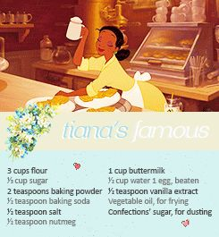 Learn how to make Tiana's delicious deserts and other things from The Princess And The Frog!