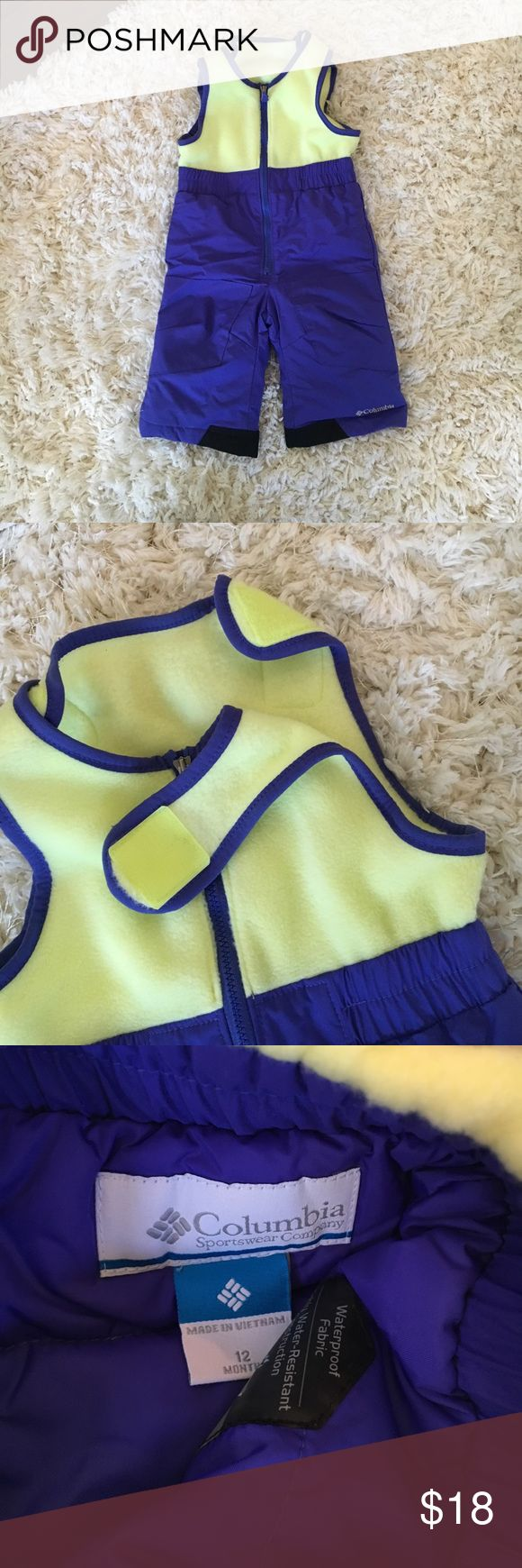Columbia  12 month snowsuit Never used easy Velcro snap for easy on/off. Top is soft and lightweight. Purple/ blue bottom and neon yellow top part can be used for boy or girl. Columbia Other